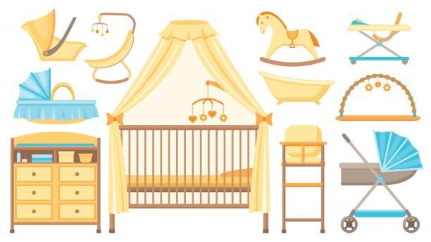 babymöbel und geräte eingestellt. vektor-illustration. - schultischrenovierung stock-grafiken, -clipart, -cartoons und -symbole