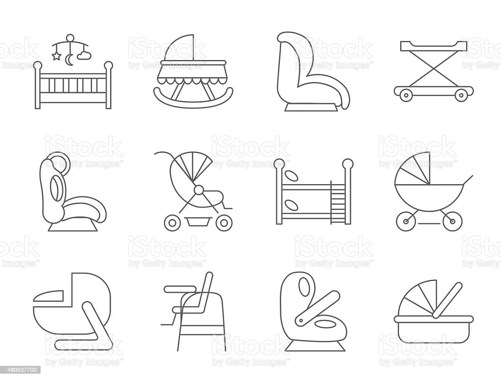 Baby furniture thin line flat vector related icon set for web and...