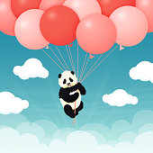 Baby giant panda flying red and pink balloons in the sky with clouds. Black and white chinese bear cub. Rare, vulnerable species. Greeting card, poster design template.