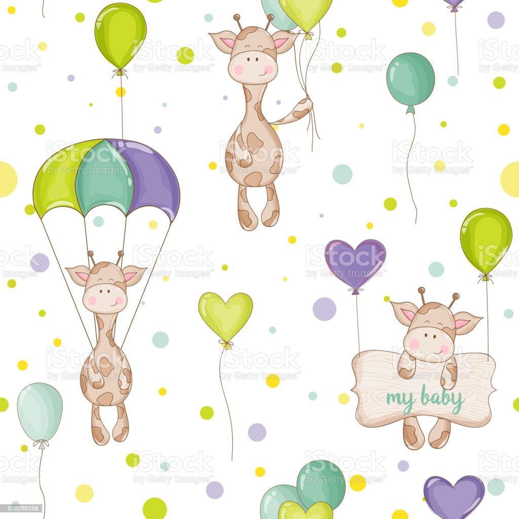 Baby Giraffe Background. Seamless Pattern. Vector Background vector art illustration