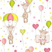 Baby Giraffe Background. Seamless Pattern. Vector Background