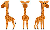 Baby giraffe in different poses. African animal in cartoon style.