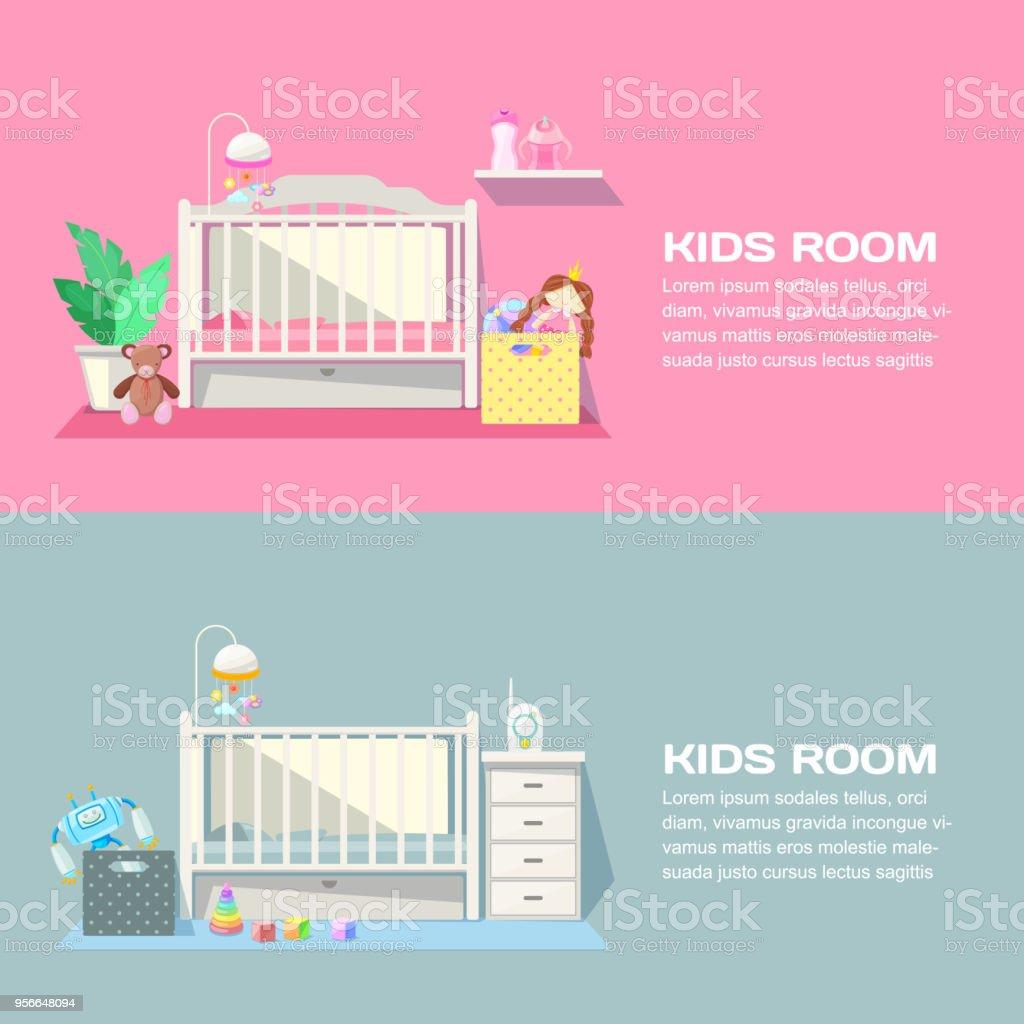 Baby Mädchen Und Jungen Zimmer Modernes Interieur, Vektor Banner.  Kinderzimmer Schlafzimmer Möbel, Spielzeug