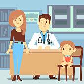 Baby girl and her mother visiting pediatrician - kids medicine concept. Medical doctor visit, medicine and health, vector illustration