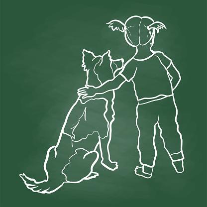 Baby Girl And Pet Dog Chalkboard