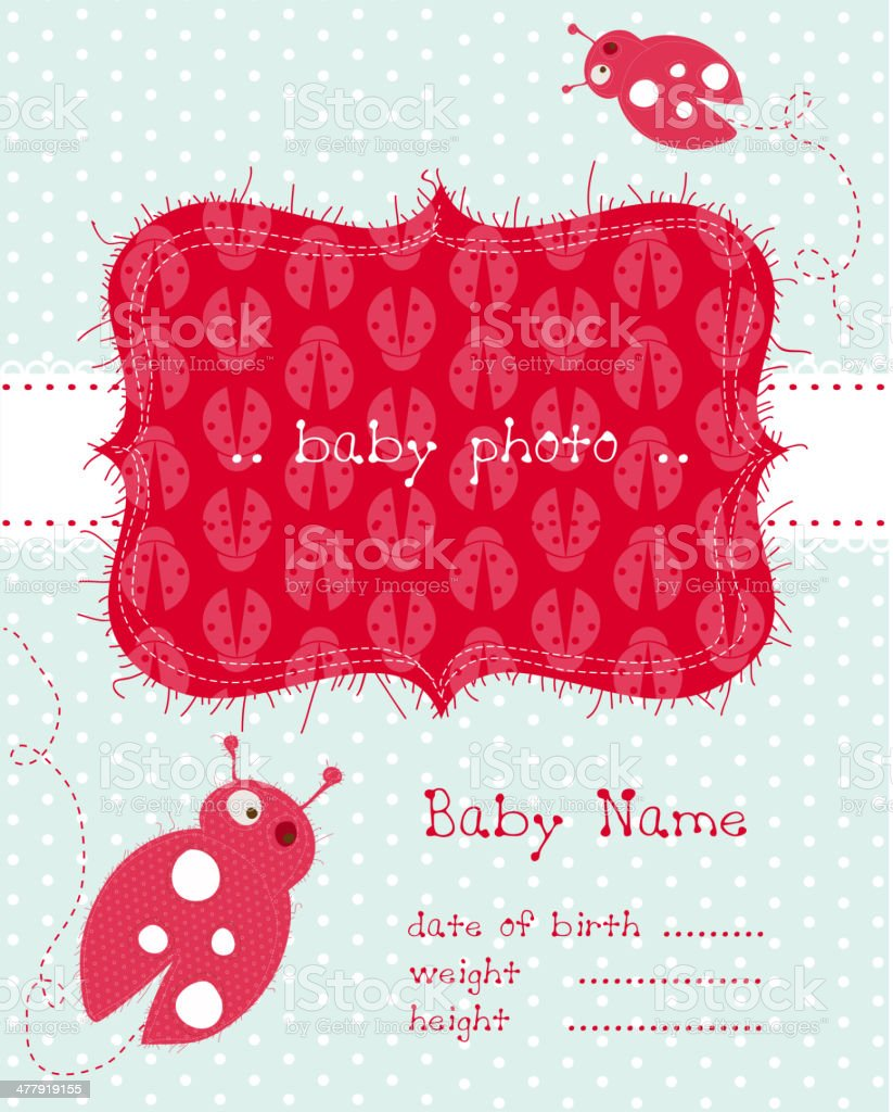 Baby Girl Announcement Card royalty-free stock vector art