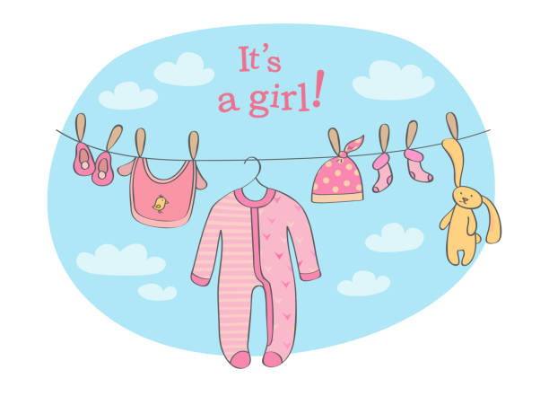 Baby girl announcement card Announcement card for baby girl with clothing and rabbit toy that are dried on the rope it's a girl stock illustrations