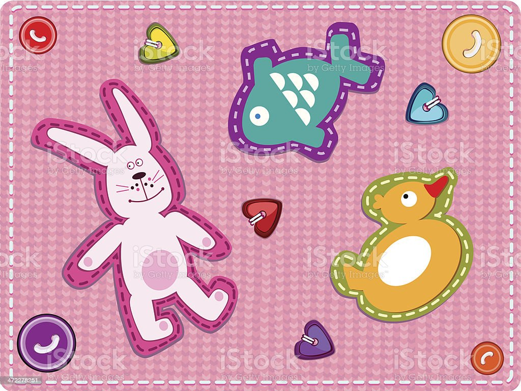 Baby Girl Appliqué On Pink Knitted Background royalty-free stock vector art