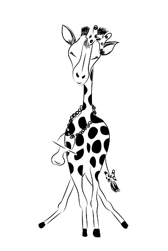Baby girl arrival announcement card with cute little hand drawn giraffe in bath - vector illustration isolated on white background
