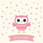 Baby girl arrival card with a cute cartoon owl