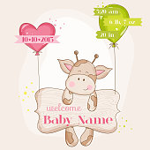 Baby Girl Arrival Card - with Cute Baby Giraffe