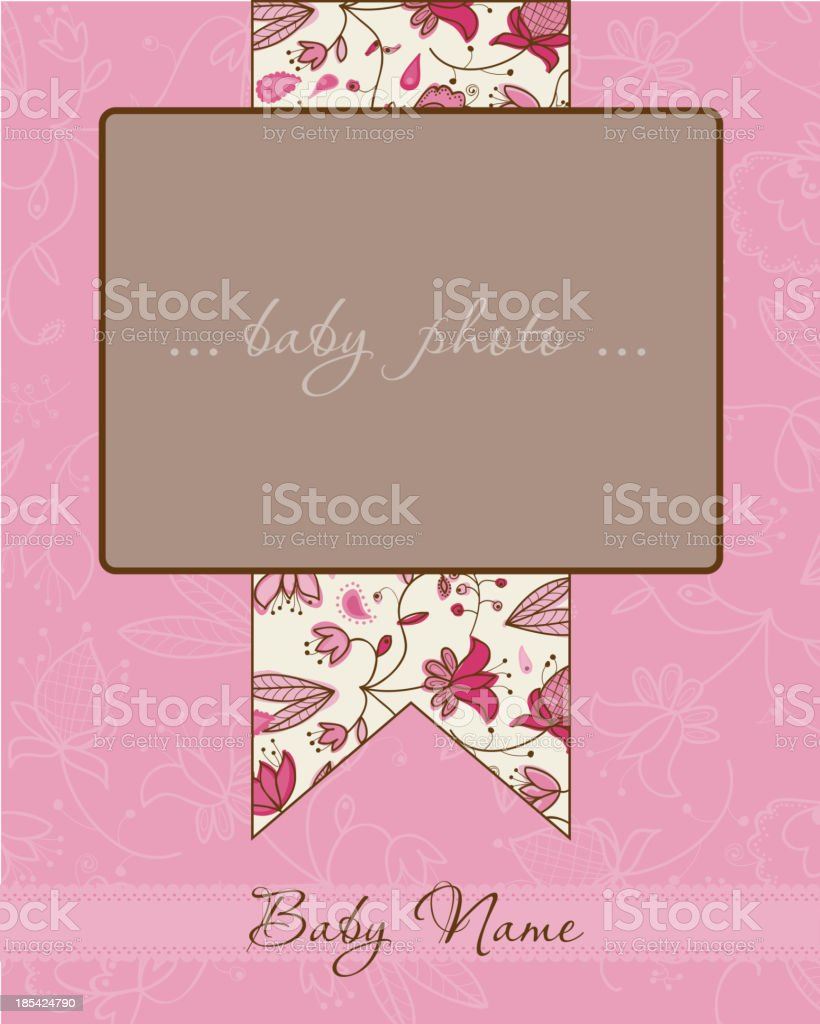 Baby Girl Arrival Card with Frame royalty-free stock vector art