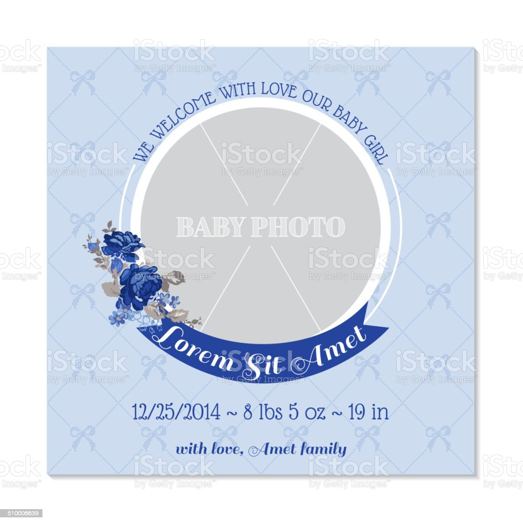 Baby Girl Arrival Card with Photo Frame vector art illustration