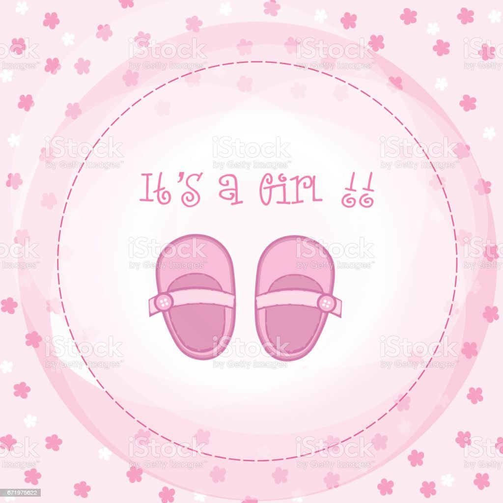 baby girl arrival or shower card it s a girlのベクターアート素材や