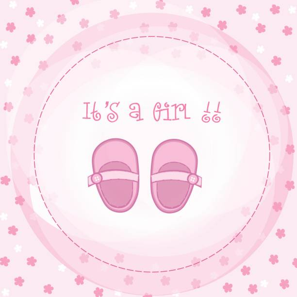 Baby girl arrival or shower card Baby girl arrival or shower card it's a girl stock illustrations
