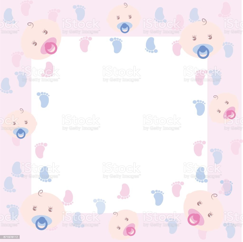 Baby Girl Arrival Or Shower Frame Stock Vector Art & More Images of ...