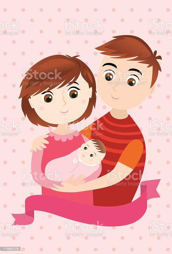 Baby Girl Arrival vector art illustration