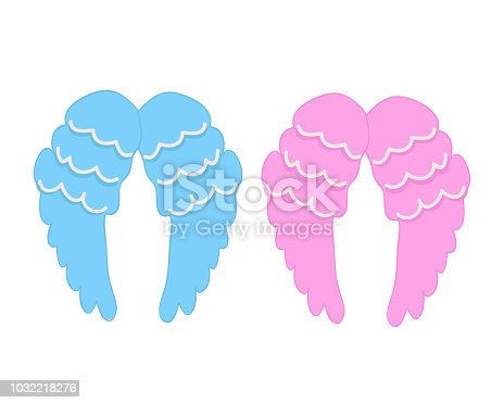 638876610istockphoto Baby girl, baby boy angel's wing. Pregnancy, baby shower greeting card 1032218276