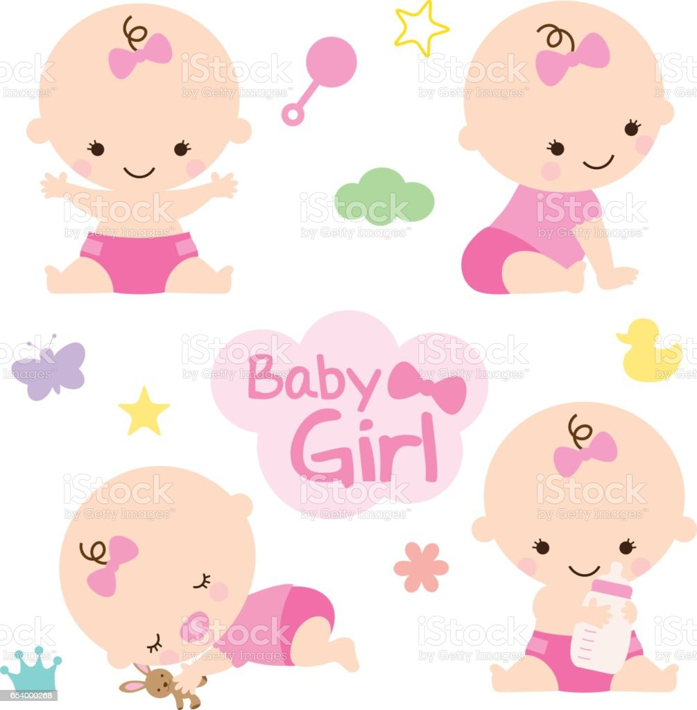 Baby Girl Baby Shower vector art illustration