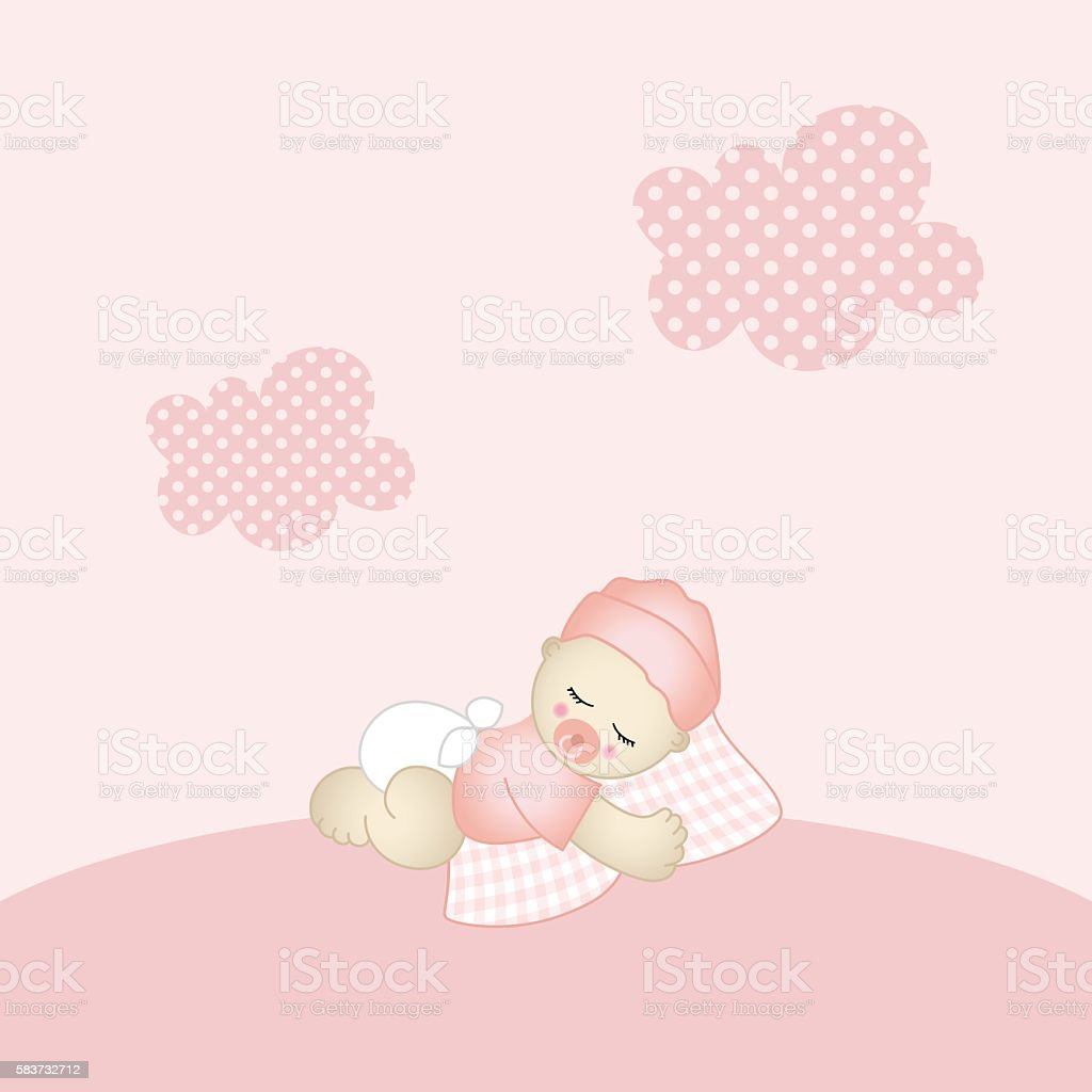 baby girl background stock vector art more images of arrival