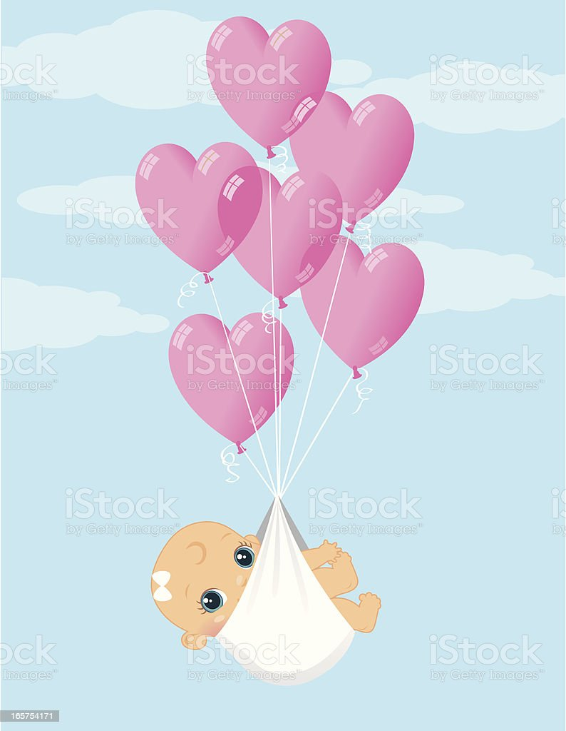 Baby Girl Balloon Delivery royalty-free baby girl balloon delivery stock vector art & more images of 0-11 months