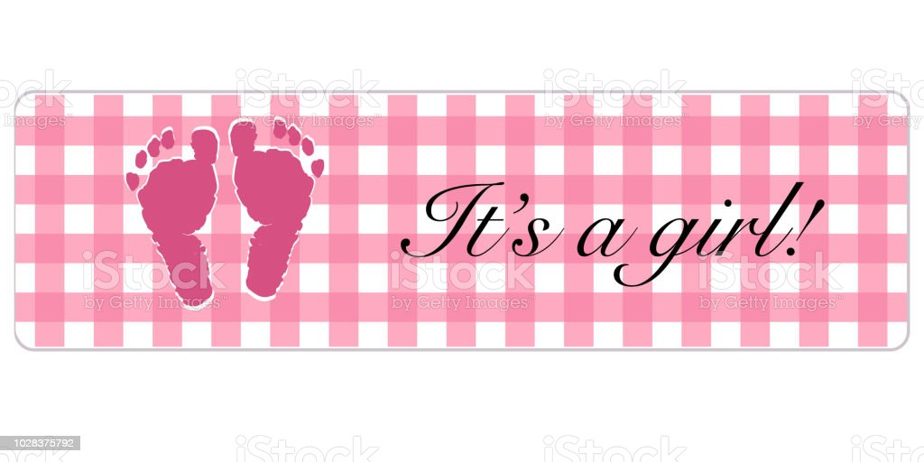Baby Girl Banner Baby Shower Banner With Foot Prints Stock Vector