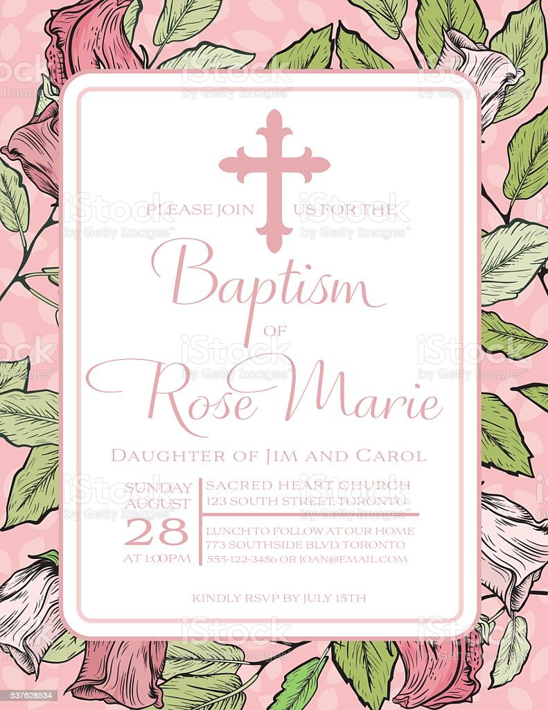 Baby Girl Baptism Or Christening Invitation Template vector art illustration