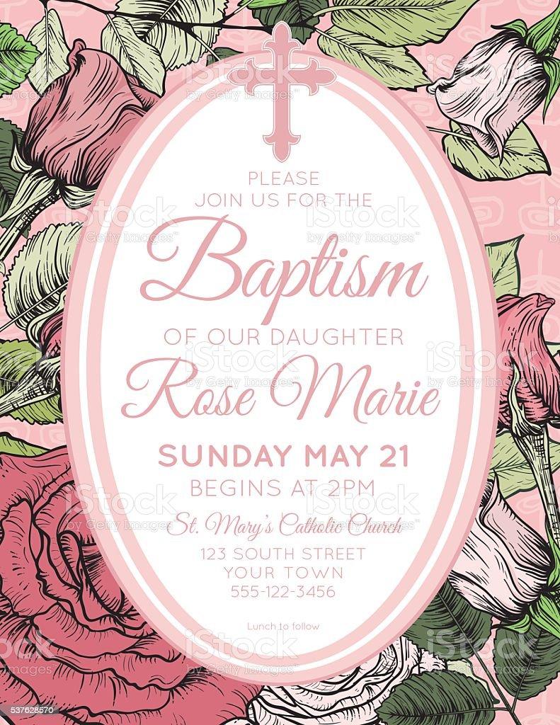 baby girl baptism or christening invitation template stock vector