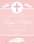 Baby Girl Baptism Or Christening Invitation Template. Soft pastel pinks and white. Three layers, one for the background, the objects and the text on top for easy removal. There is a cross at the top and feathers.