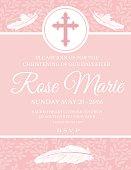 Baby Girl Baptism Or Christening Invitation Template