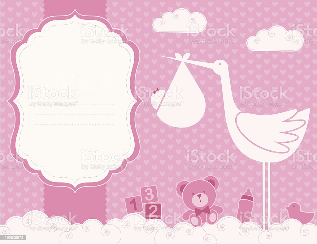 Baby Girl Birth Announcement Card (Family LIfe Series) vector art illustration