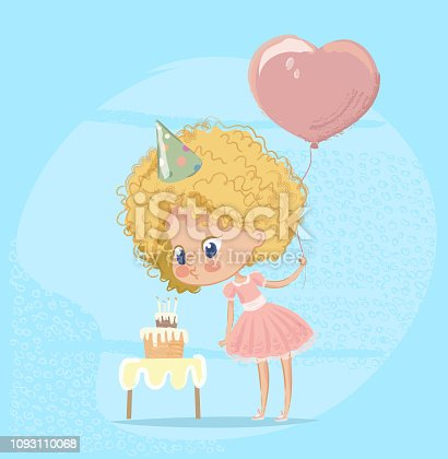 Baby Girl Blowing Birthday Cake Candle. Cute Blond Girl Character wearing pink Celebrate Birth Party. Cute girl Holding Balloon. Poster Design for Print. Flat Cartoon Vector Illustration