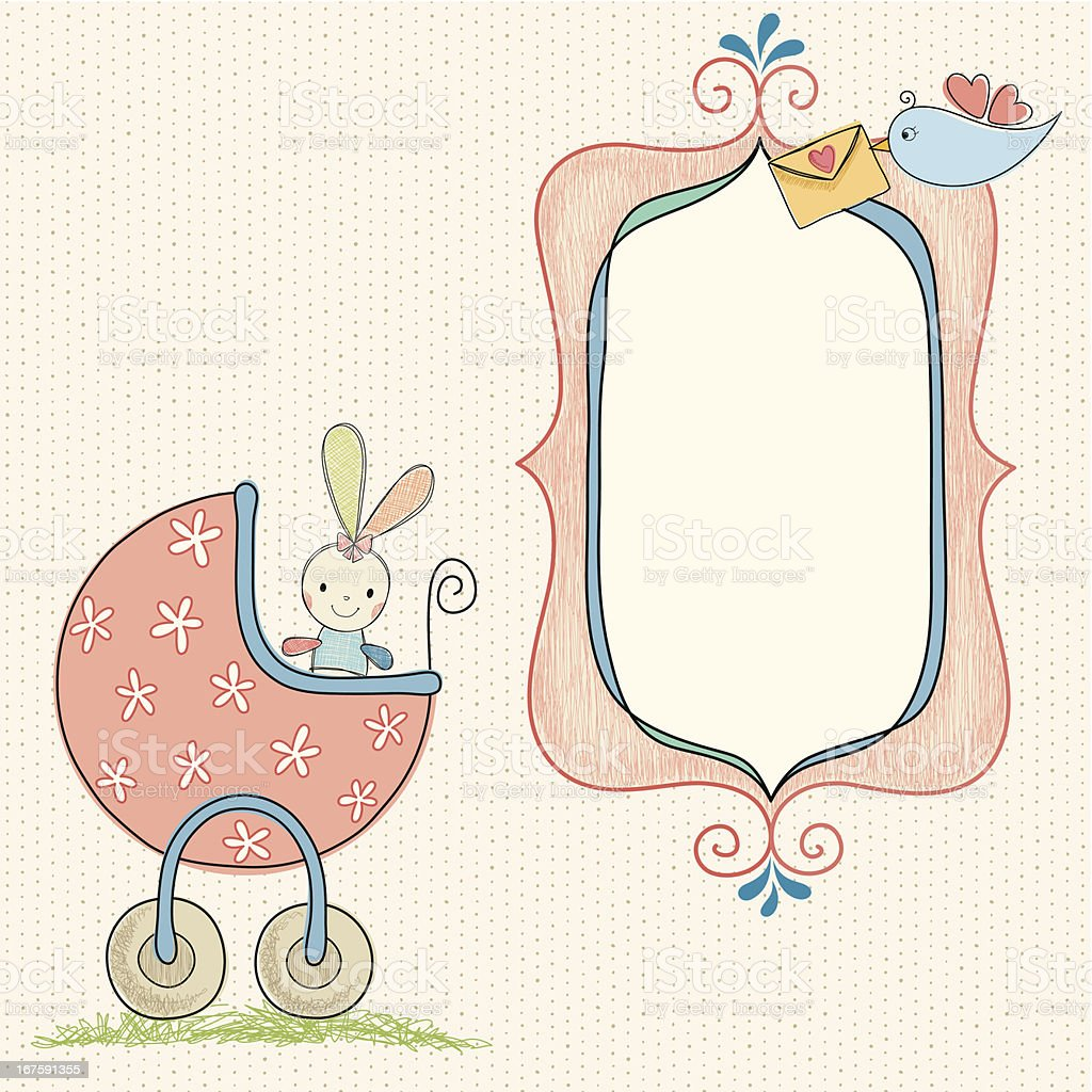 Baby Girl Bunny Frame Stock Vector Art & More Images of Animal ...