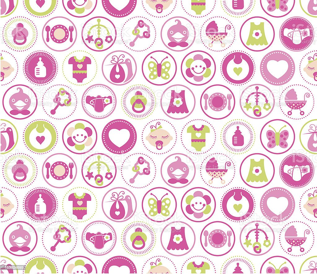 Baby Girl Circles Seamless Pattern royalty-free baby girl circles seamless pattern stock vector art & more images of baby