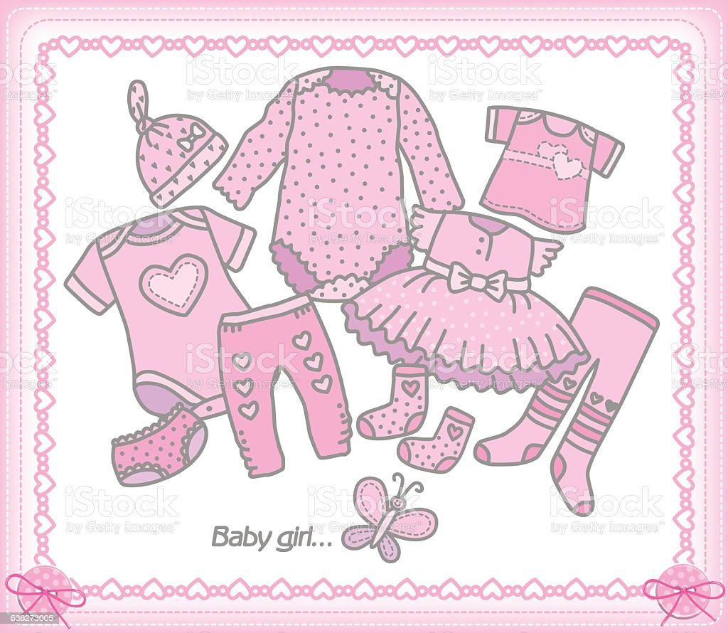 Royalty Free Baby Girl Clothing Line Clip Art Vector