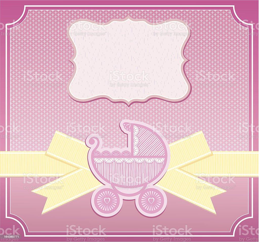 Baby Girl Congratulation Card Vector Illustration Stock Vector Art