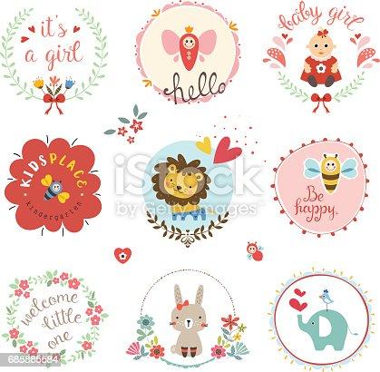 istock Baby Girl Design Set 685885584
