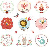Kids elements, labels, frames, floral wreaths, baby girl, flowers, hearts, cartoon elephant, lion cub, cute rabbit, bee, bird, toys,  and typographic design. Good for children's cloths, package, books covers, greeting cards and invitations. Vector illustration.