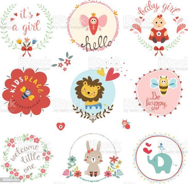 Baby girl design set vector id685885584?b=1&k=6&m=685885584&s=612x612&h=fcjxzxmzwcjsnra8gjwc0ttbayhvvg1snwolgtqli44=