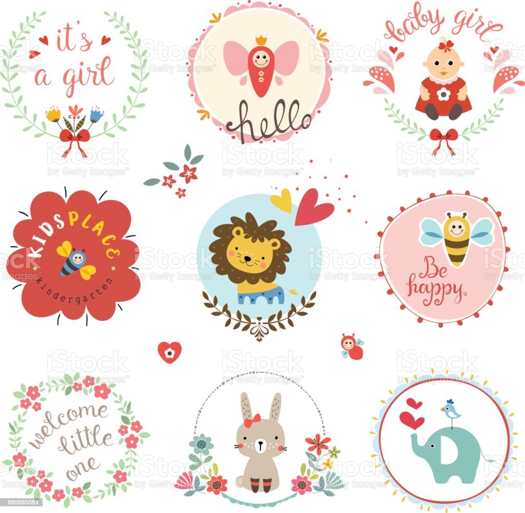 Baby Girl Design Set vector art illustration