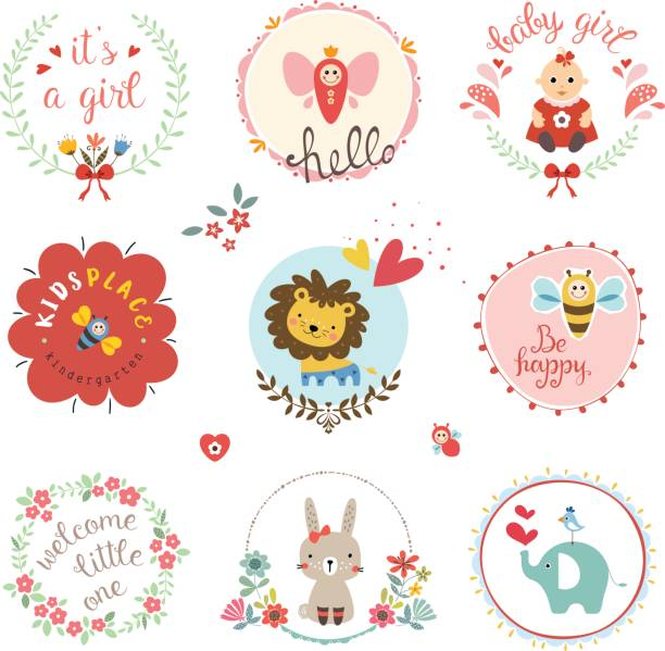 Baby Girl Design Set Kids elements, labels, frames, floral wreaths, baby girl, flowers, hearts, cartoon elephant, lion cub, cute rabbit, bee, bird, toys, and typographic design. Good for children's cloths, package, books covers, greeting cards and invitations. Vector illustration. bee borders stock illustrations