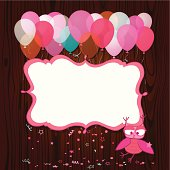 Baby girl frame design with cute little owl, balloons and confetti. All objects are smartly grouped and layered. Large JPG included.