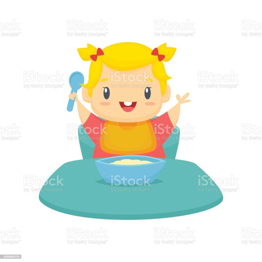 Petite Fille Mangeant Vector Illustration De Dessin Animé