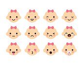 Set of 12 cute baby emoticons. Very simple but expressive cartoon baby girl faces with pink bows. Modern flat vector style.