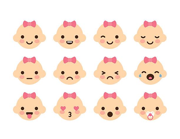 ilustraciones, imágenes clip art, dibujos animados e iconos de stock de niña bebé emoticons - lágrimas de emoji alegre