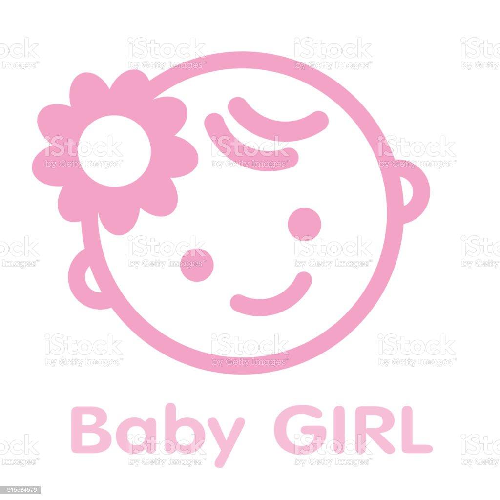 Vetor De Fundo Do Bebê Menina Rosto ícone Símbolo Isolado E Mais