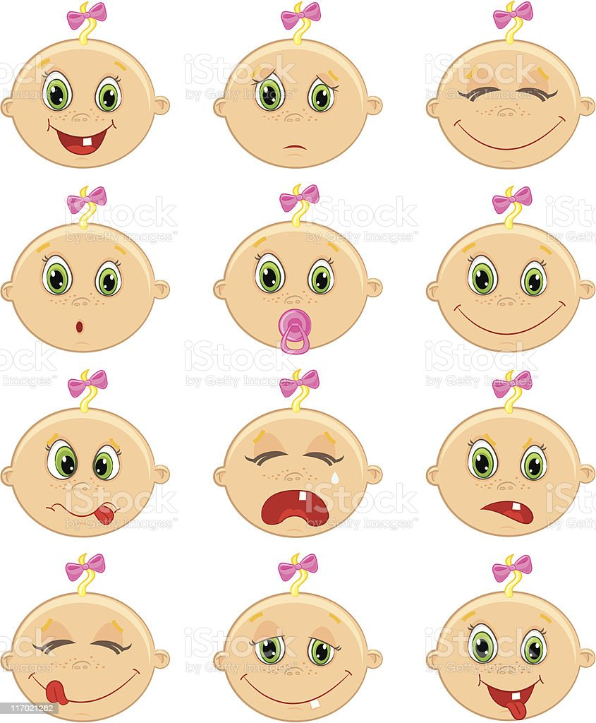 baby girl faces royalty-free stock vector art
