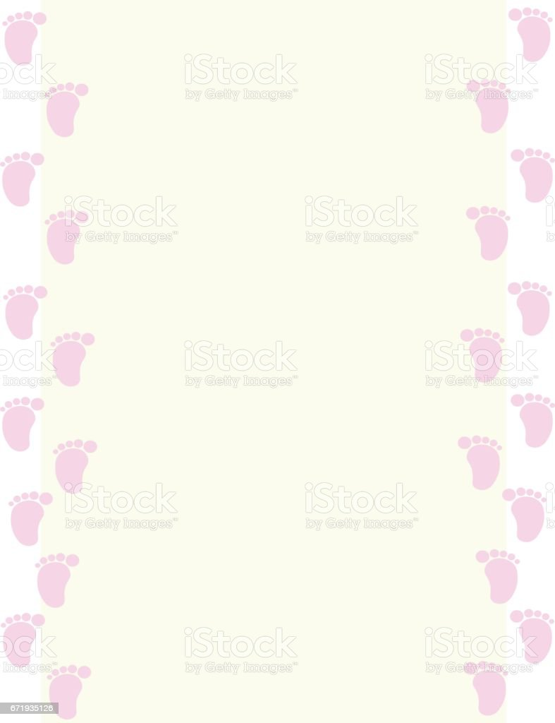 Baby Girl Footprint Frame Stock Vector Art & More Images of Arts ...