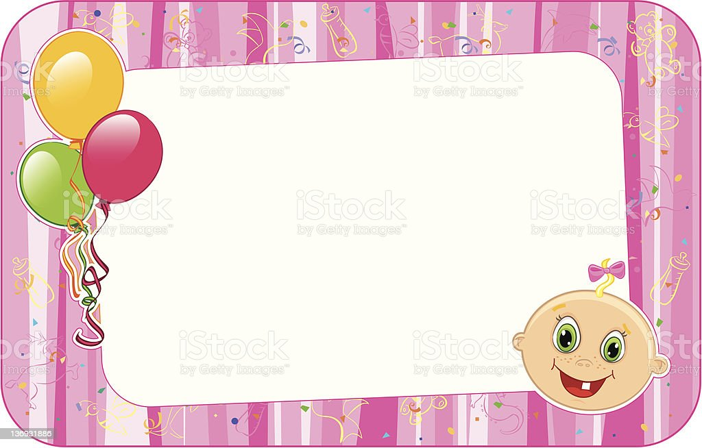 Baby Girl Frame Stock Vector Art & More Images of Arts Culture and ...