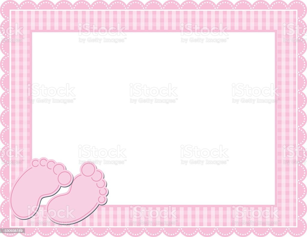 Baby Girl Gingham Frame vector art illustration